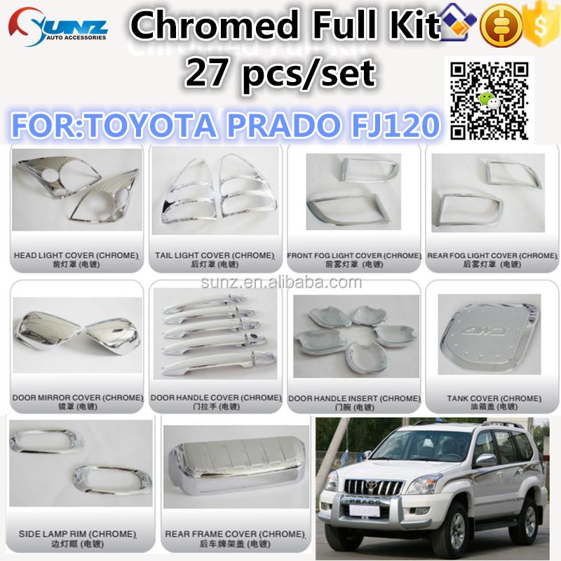chromed full kits for toyota prado fj120 full sets prado parts toyota prado fj120 car. Black Bedroom Furniture Sets. Home Design Ideas