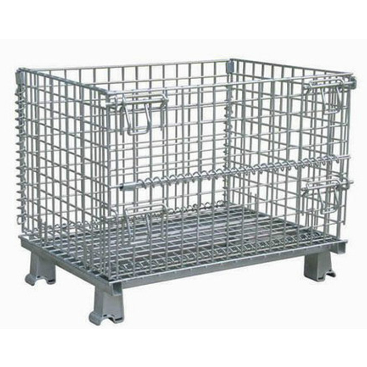 Warehouse heavy duty wire roll container lockable steel storage cage