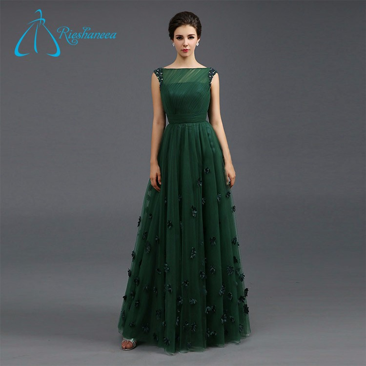 Cheap Bateau Handmade Flowers Sequined Beading Crystal Plus Size Gowns Evening Dress