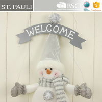 white sliver 16 inch hodling wire wood door hanging welcome sign snowman christmas wreath hanging decoration with pompon buttons