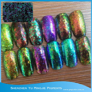 High shine and sparkling effect chameleon flake powder for nail polish