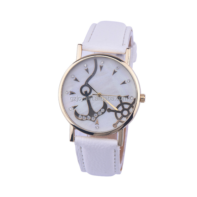 hot sale products leather strap shell diamond face anchor watch women quartz western wrist watches