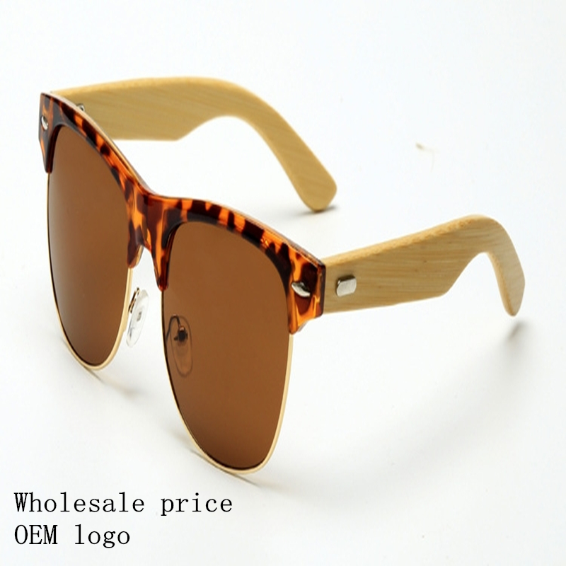 Foreign trade new bamboo sunglasses men 's metal half frame glasses women' s leisure wooden legs sunglasses
