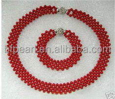 "wholesale 17"" 4mm red original coral beads necklace"