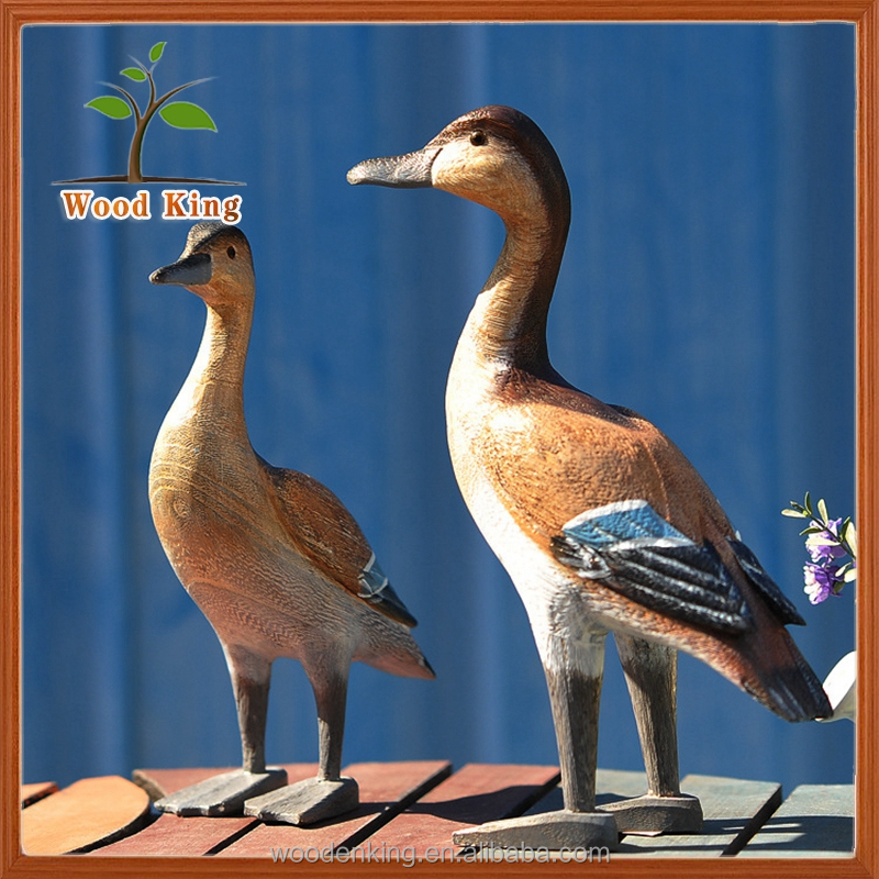 Wholesale Paulownia Wood Carving Pure Hand Arts And Crafts Desktop Decoration Furnishing Articles Painted Wooden Duck
