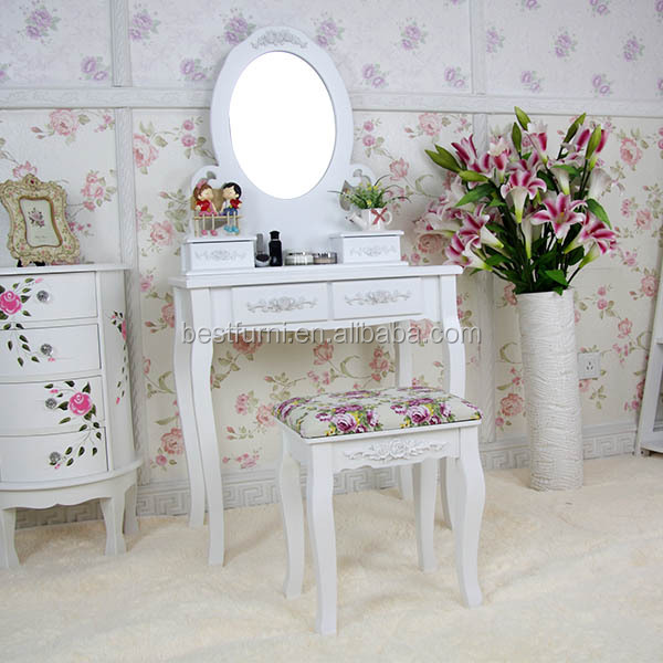 White Bedroom Dressing Table with Mirror Designs