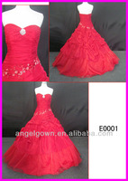 2014 guangzhou corset back luxury real strapless taffeta red ball wedding gowns/bridal dress with heavy beading pattern E0001