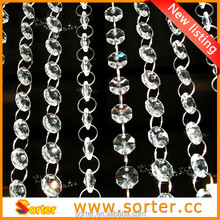 fashion elegant event crystal glass beaded chain/wedding decoration/crystal beads