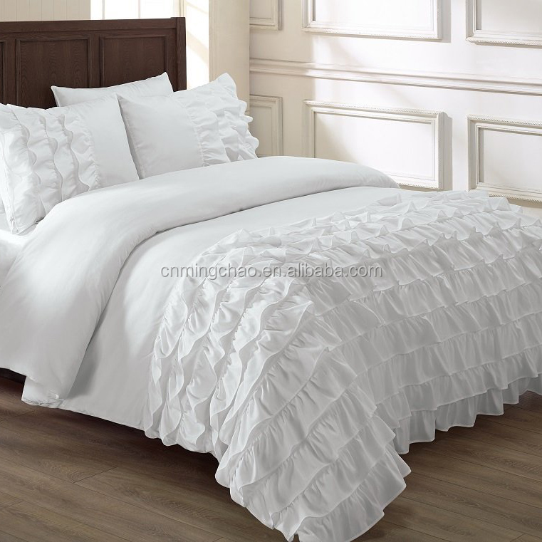 White color frills duvet cover bedding set