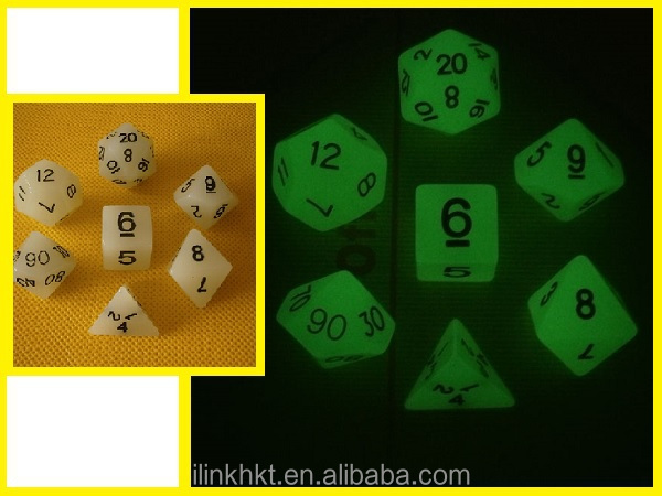 Glow In the Dark GID polyhedral dice set