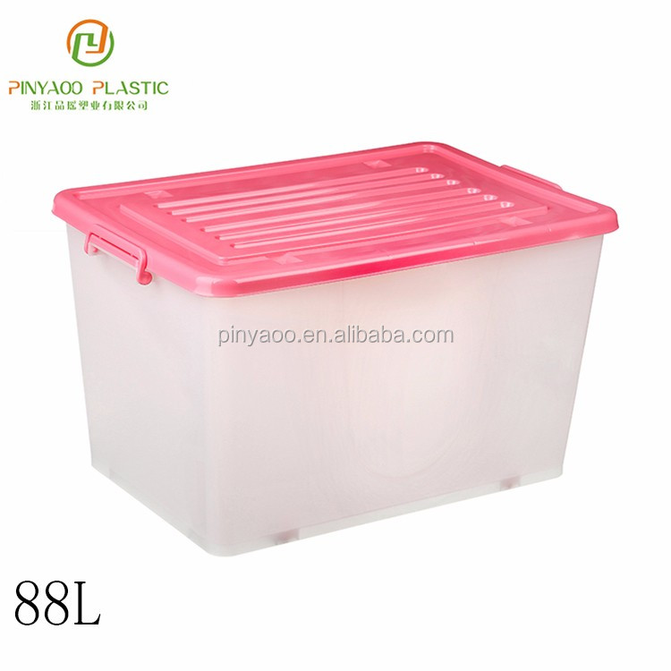Promotional Wholesale Any Size Customized Storage Basket With Lid And Handle Plastic