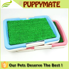 indoor dog pet toilet tray with fake grass on / pet dog cleaning toilet