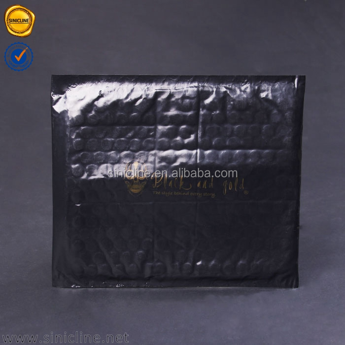 Sinicline fashion design gold logo printed poly bubble mailer bag custom poly mailer