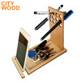wooden pen organizer with phone stand