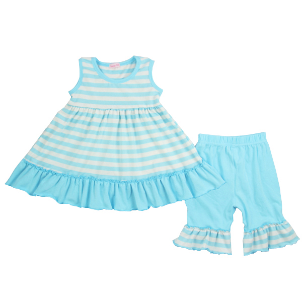 2017 summer boutique outfit 100%cotton soft sets blue and white stripe pattern sets girl dress sets