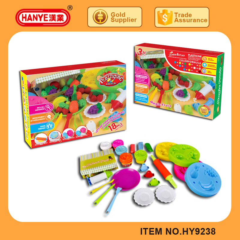 HY9238 18PCS magic fruit DIY play dough with plastic container