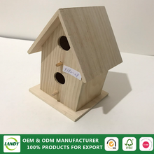 Natural color wood pigeons bird house with solar light