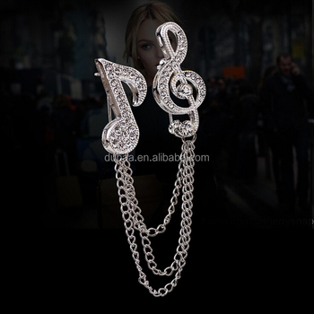 Sparkling Crystal Treble Clef Music Note Pin Brooch