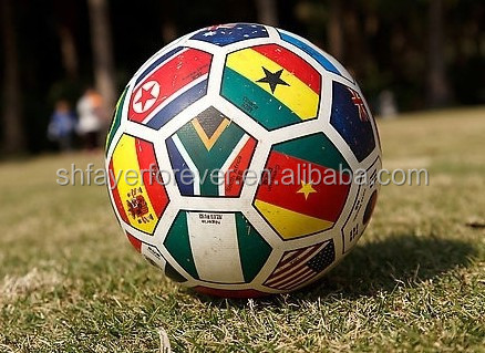 country flag design machine sewn inflatable football/soccer ball for matches