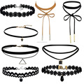 Charm 8Pcs/Set Gothic Punk Velvet Lace Choker Bead Pendant Necklace Jewelry