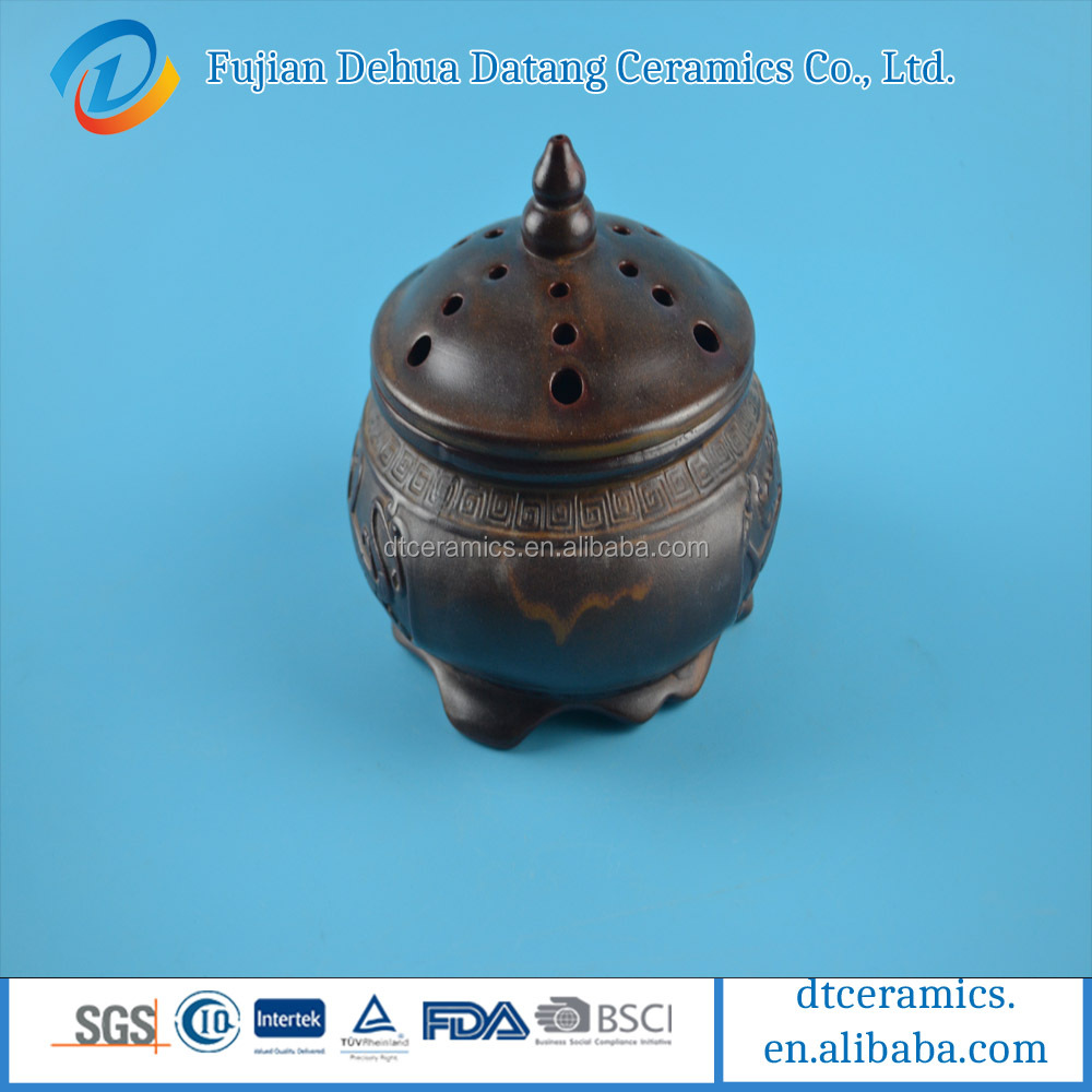 factory three-legged ceramic incense coil holder
