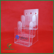 3 tiers custom desktop clear acrylic brochure magazine holder