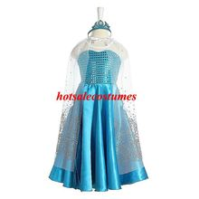 2014 New Arrival Hot Sale Frozen Elsa Dress Free Shipping Movie Princess Children Frozen Elsa costume for Girls With Crown