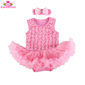 Sleeveless cotton infant baby romper dress rose flower lace baby tutu romper