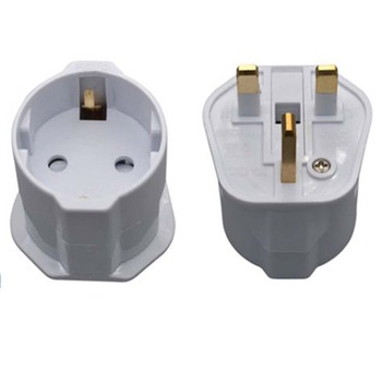 Euro Germany France Schuko plug to UK plug converter travel adapter with fuse 13A