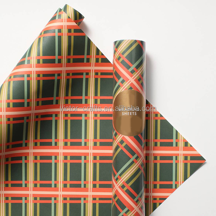 Victor Crafts high quality plaid wrapping sheets rolled holiday paper hot sale gift wrapping paper in india