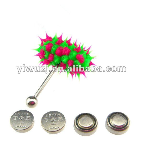 2017 new hot wholesale 316L Surgical Stainless Steel silicone spike rose and green vibrating piercing tongue bars