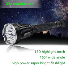 OEM Factory aluminum outdoor XML T6 led torch 13000lm light flashlight search light