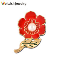 New Latest Design Women Gold Plated Pearl Flower Broches