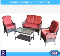 Living Room Sofa furniture 4pc Patio Rattan Furniture Set Tea Table &Chairs Outdoor Garden Steel Frame