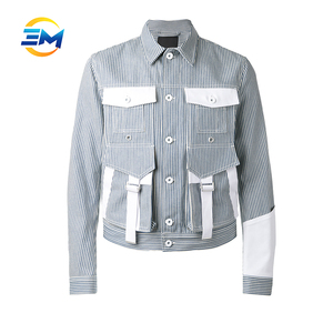 Custom man new fashion striped cotton denim short jean jacket with original design