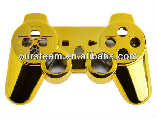golden Chrome Shell for PS3 wireless controller for ps3 controller repair kits