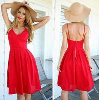 Wholesale latest fashion dress ladies v neck backless simple red dress