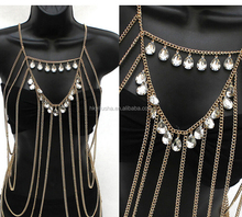 Cheap women layered metal body chain with rhinestone SP6234