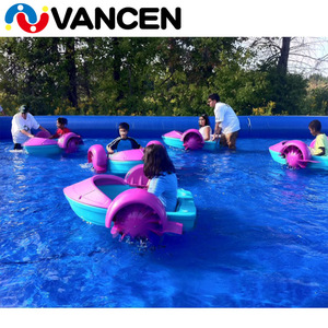 color and logo customized hand power swimming pool water park use mini plastic kids single paddle wheel boat