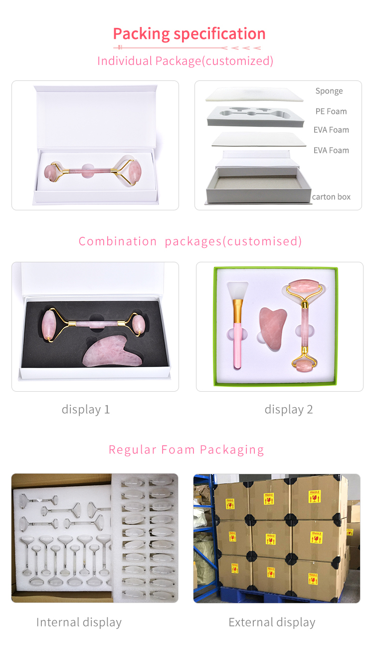 Best price HanHe handheld rose quartz jade roller gua sha beauty facial massage rose jade roller for face with box
