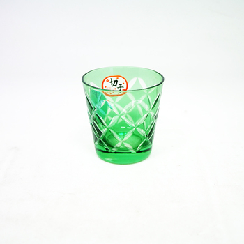 60ml Wholesale Green Colored Engraved Glass Tumbler Tea Cup