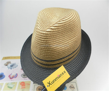 OEM party hat adult cheap PP paper straw fedora hat