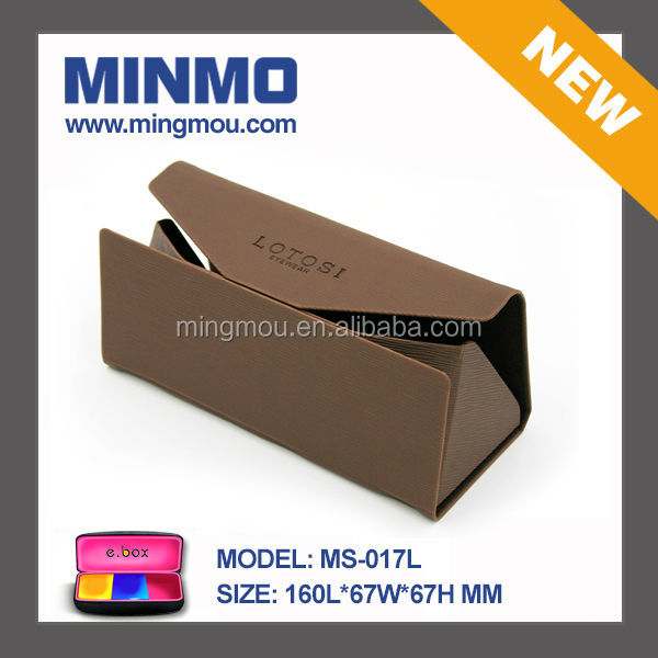 New products triangle shape handmade folding glasses case,brown PU leather multifunction folding handmade optics case