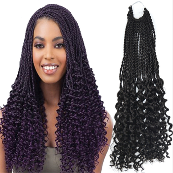 "10-24"" senegalese afro twist curled twist crochet hair extension"
