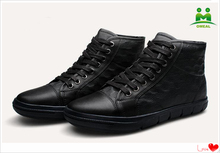 Omeal factory direct sale black cowhide sneakers men big yards shoes