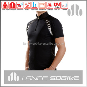 100% polyester sport shirt wholesale, men cycling wear, dry fit sport shirt