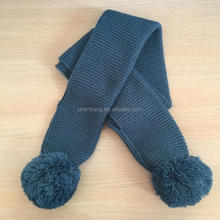 lovely style baby knitted scarf with fur pom pom