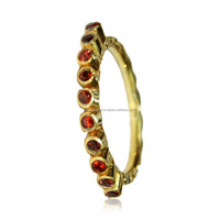Garnet 18 kt Gold Vermeil hammered ring