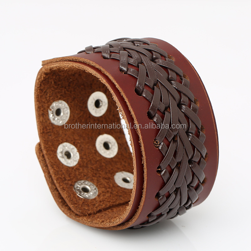 New Arrival Brown Cross Weave Wrap Wristband Wide Mens Genuine Leather Cuff Bracelet Wholesale