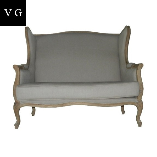 french country style wing back upholstered linen sofa oak wood living room furniture sofa set